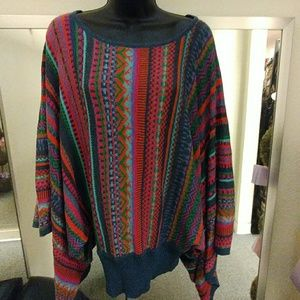 Novica Banded Poncho Alpaca Sweater